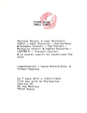 «SEINE SAINT-DENIS STYLE »  group show  –  7 mars 2015  –  Atelier G8  –  Cité des arts de Montmartre –Paris